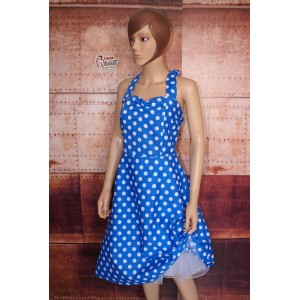Robe Pin Up légère bleue à pois blancs