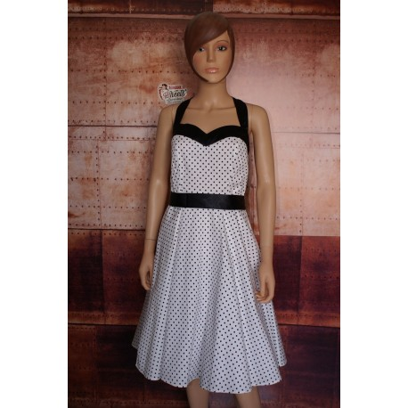 Robe Pin Up Blanche à pois noirs