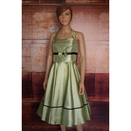 Robe Pin Up Satin Vert